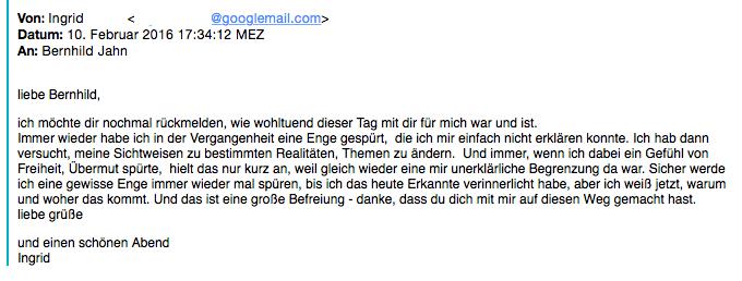 Referenz einer Klientin für Bernhild Jahn, BetterLife-Akademie